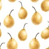 Картина желтой свежей акварели груши безшовная Стоковые Фотографии RF