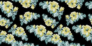 Картина желтых цветков винтажная на черной предпосылке Стоковое Изображение