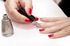 Картина женских ногтей Стоковая Фотография