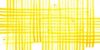 Картина желтой акварели checkered на белой предпосылке Стоковая Фотография RF