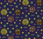 Картина животного вектора безшовная Предпосылка стиля эскиза Doodle изображение ежей, сычей и бобров Стоковая Фотография