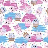 Картина животного облака акварели падения дождя игрушки безшовная иллюстрация штока