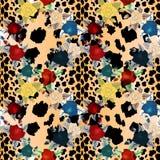 Картина животного цветка безшовная внутри Кожа леопарда и предпосылка цветков иллюстрация штока