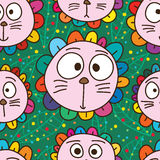 Картина животного цветка кота милая безшовная иллюстрация вектора