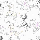 Картина животных сафари безшовная иллюстрация вектора