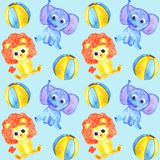 Картина животных слона, льва и шариков акварели милая безшовная иллюстрация штока