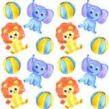 Картина животных слона, льва и шариков акварели милая безшовная иллюстрация вектора