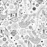картина животных фантастичная графическая безшовная Стоковые Изображения RF