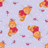 Картина жизнерадостных котов безшовная Стоковые Фотографии RF