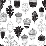 Картина жолудей и листьев дуба безшовная бесплатная иллюстрация