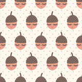 Картина жолудей безшовная на предпосылке точек польки бесплатная иллюстрация