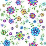 Картина завода безшовная с цветками и листьями Стоковое Изображение RF