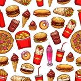 Картина закусок и десертов фаст-фуда безшовная иллюстрация штока