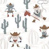 Картина западного животного младенца безшовная Зайчик Диких Западов, мышь, медведь, лягушка с шляпой, ботинком, оружием бесплатная иллюстрация