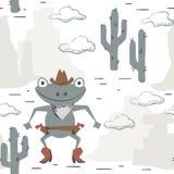 Картина западного младенца лягушки безшовная Животное Диких Западов с шляпой, ботинком, оружием иллюстрация вектора