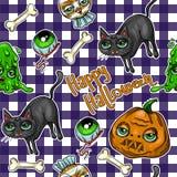 Картина заплат элемента хеллоуина: тыква, череп, паук, шлам, кот, летучая мышь, косточка Стоковая Фотография RF