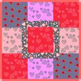 Картина заплатки с сердцами, ягодами и помадками на день валентинок Стоковые Фотографии RF