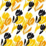 Картина затрапезного цветка тюльпана эскиза безшовная Современный абстрактный хлев Стоковое Фото