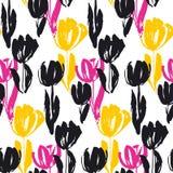 Картина затрапезного цветка тюльпана эскиза безшовная Стоковые Изображения
