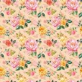 Картина затрапезного шикарного watercolour флористическая безшовная Рука покрасила пинк и желтые цветки на розовой бежевой предпо бесплатная иллюстрация