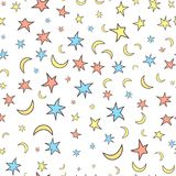 Картина звезд и лун безшовная Тип шаржа Белое backgroun Стоковое Фото