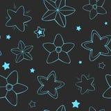 Картина звезд вектора безшовная Голубые звезды на темной предпосылке Стоковое Фото