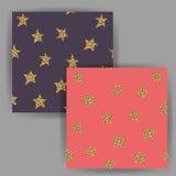 Картина звезды вектора безшовная, с влиянием яркого блеска золота Стоковые Изображения