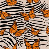 Картина зебры безшовная Животная печать с бабочками Барочная тенденция r бесплатная иллюстрация