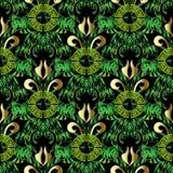 Картина зеленого густолиственного греческого вектора безшовная Флористическое абстрактное ornam иллюстрация штока