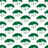 Картина зеленого дерева безшовная иллюстрация вектора