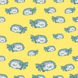Картина зеленых рыб безшовная Стоковое Изображение