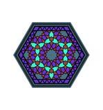 Картина зеленых цветов стиля Ближний Востока фиолетовая шестиугольная иллюстрация штока
