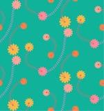 Картина зеленого винтажного цветка безшовная Стоковое Изображение RF