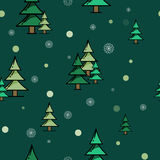 Картина зеленого цвета леса ели безшовная Стоковая Фотография