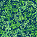 Картина зеленой листвы чернил нарисованная рукой безшовная Стоковые Изображения