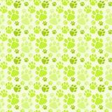 Картина зеленых следов ноги собаки безшовная иллюстрация вектора