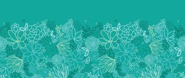 Картина зеленых succulents горизонтальная безшовная Стоковые Фотографии RF