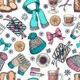 Картина зимнего отдыха безшовная Иллюстрация эскиза вектора Предпосылка с одеждой моды, аксессуарами, подарочными коробками бесплатная иллюстрация