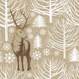 Картина зимы безшовная, олень Стоковое Изображение RF