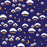 Картина зимы безшовная с деревней ночи Иллюстрация штока