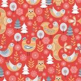 Картина зимы безшовная с птицами, деревьями, снежинками Стоковые Изображения
