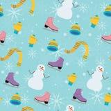 Картина зимы безшовная с снеговиком на предпосылке бирюзы Стоковые Изображения