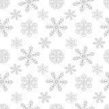 Картина зимы безшовная с снежинками Стоковая Фотография