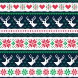 Картина зимы Scandynavian безшовная с оленями и сердцами Стоковые Изображения RF