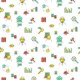 Картина значка недвижимости безшовная Стоковые Фотографии RF