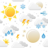 Картина значков погоды безшовная Стоковое Изображение