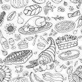 Картина значков doodle официальный праздник в США в память первых колонистов Массачусетса безшовная бесплатная иллюстрация