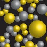 Картина золотых и серебряных шариков безшовная Стоковая Фотография