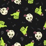 Картина зомби хеллоуина безшовная Стоковая Фотография