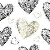Картина золота и черных сердец безшовная Стоковое Фото